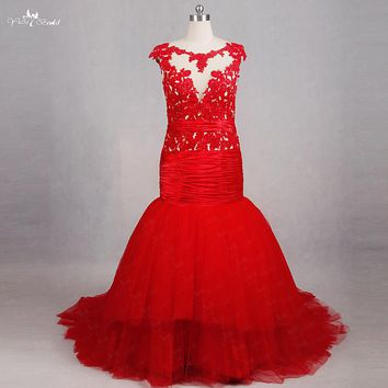 RSE796 Real Pictures Yiaibridal Vestido De Festa Plus Size Cap Sleeves Long Red Mermaid Prom Dress