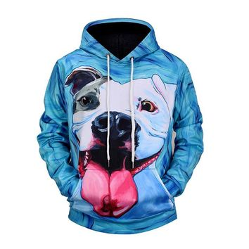 Pit Bull Tongue Out Dog All Over Print Hoodie Sweater