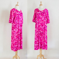 60s Dress / 60s Mod Dress / Caftan Dress / 60s Hot Pink Dress / 60s Mod Floral Dress