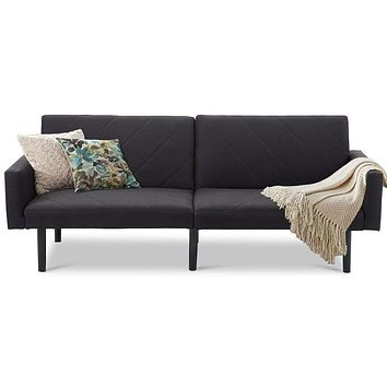 Modern Mid-Century Style Futon Sofa Bed with Black Linen Upholstery
