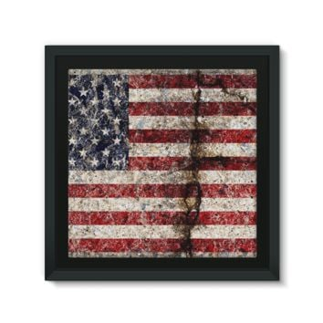 Rustic Cracked Concrete American Flag Framed Canvas