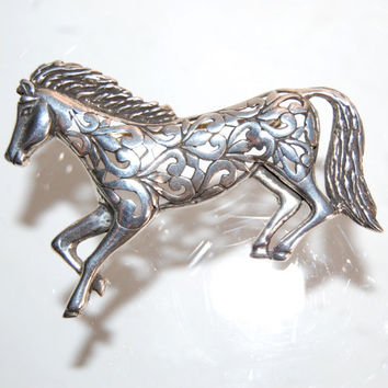 Jezlaine Sterling Silver Horse Brooch Vintage Die Cut Equestrian Jewelry Modernist Openwork Horse Pin Running Horse Brooch Accessories