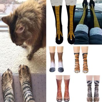3D Animal Printed Paw Crew Socks Women&Men Funny Novelty Fashion Adult Socks