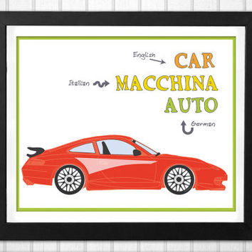 Nursery car print 3 languages educational Print INSTANT DOWNLOAD in English Italian and German
