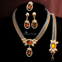 Crazy Feng Trendy 18k Gold Filled Crystal Jewelry Sets Women