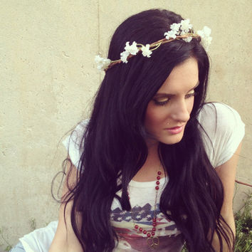 COACHELLA Goddess Hair Wreathes Mini White by 2sisters1closet
