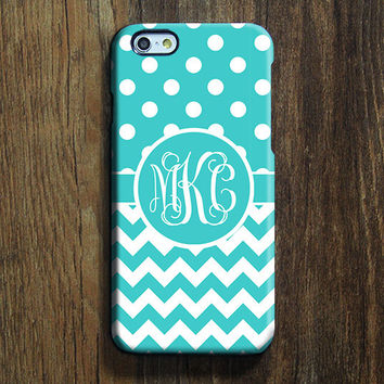 Chevron Polka Monogram iPhone 6s case 6 Case iPhone 6 Plus Case Custom Initials iPhone 5S Case iPhone 5C Case Blue White Galaxy S6 Case 103
