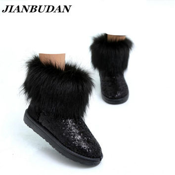JIANBUDAN New women Imitation fox fur boots waterproof snow boots warm thick crust of snow shoes with sequins Girls fur boots