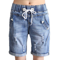 Hot Sales Women's Drawstring Elastic Waist Jeans Shorts Plus Size Half Denim Trousers 2017 Summer Fashion Street Free Shipping