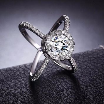 Criss Cross CZ Crystal White Gold Plated Ring