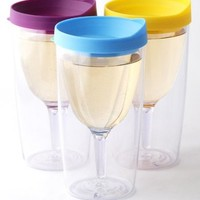 SET 3 Purple Yellow Light Blue Lid Vino2Go Plastic Tumbler Adult Wine Sippy Cup