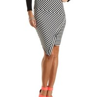 Asymmetrical Striped Midi Skirt by Charlotte Russe - Black/White