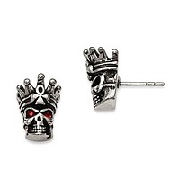 Stainless Steel Antiqued And Polished Red Crystal Skull Post Earrings