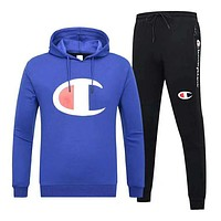 Champion Autumn And Winter New Fashion Bust Logo Print Hooded Long Sleeve Sweater And Pants Men Two Piece Suit Blue