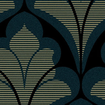 Damask Geometric Wallpaper in Metallic, Blues, and Black design by Seabrook Wallcoverings