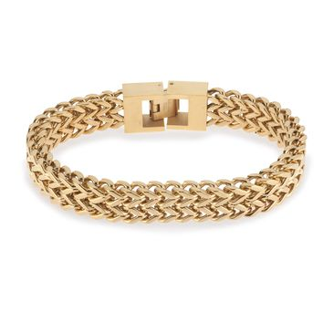 "Mens 8.5"" Stainless Steel Gold Double Franco Chain Bracelet"