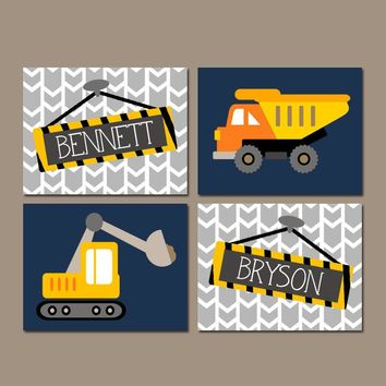 CONSTRUCTION Wall Art, Canvas or Prints, Shared Boy Brother Decor, Dump TRUCK Theme, Personalized Name Wall Decor, Transportation, Set of 4