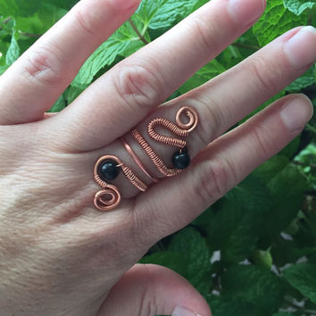 Copper wire ring-wire jewelry-black obsidian-wire wrapped ring-copper jewelry-natural stones