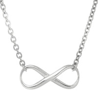 Infinity Sign Link Necklace In Rhodium Plated Sterling Silver - 18 Inches