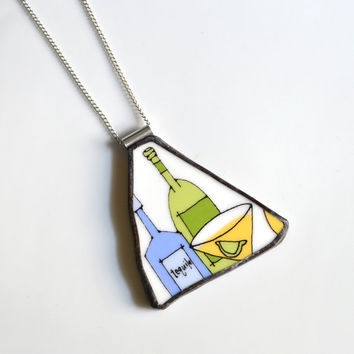 Broken Plate Pendant on Chain - Tequila - Recycled China
