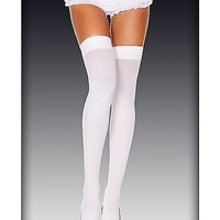 Opaque Thigh High Stockings - White - Spencer's