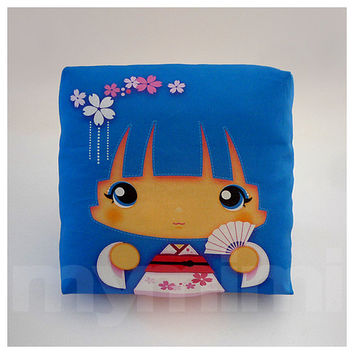 Kawaii Girl, Girls Pillow, Geisha Pillow, Blue Pillow, Japanese, Kokeshi Doll, Childrens Pillow, Throw Pillow, Girls Room Decor, 7 x 7""