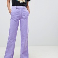 ASOS DESIGN retro full length flare jeans in lilac cord at asos.com
