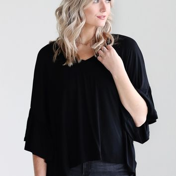 Black PIKO Bell Sleeve High-Low Top