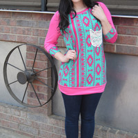 Fuchsia and Mint Aztec Pocket Top
