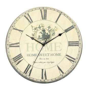 Large Vintage Rustic Flower Rural Shabby Wall Clock Home Kitchen Office Decor