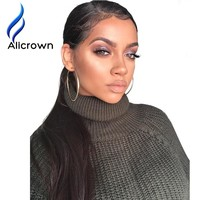 """Alicrown Straight Lace Front Human Hair Wigs Free Part Brazilian Remy Hair Wig 8""""-24""""Pre Plucked Natural Hairline"""