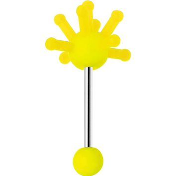 Yellow Neon Silicone Atom Barbell Tongue Ring
