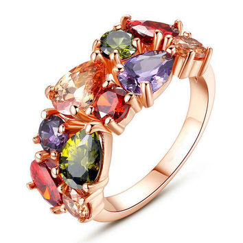 Stylish New Arrival Jewelry Shiny Gift Multi-color Crystal Women's Diamonds Ring [11597566415]