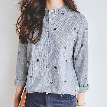 Embroidery Fashion Korean Women Loose Casual Tops Long Sleeve Floral Shirt Tops POLO