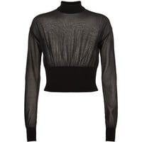 Balmain Semi-Sheer Cropped Jumper Black | Harrods.com