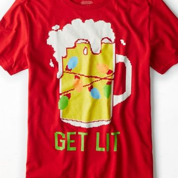 AEO Men's Get Lit Graphic T-shirt (Index Red)