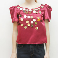 FLASH - burgundy and gold embroidered sequin top - Ready to ship