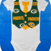 NFL Football Team Vest & Tie Baby Onesuit or Toddler Shirt with Green Bay Packers...or CHOOSE your TEAM