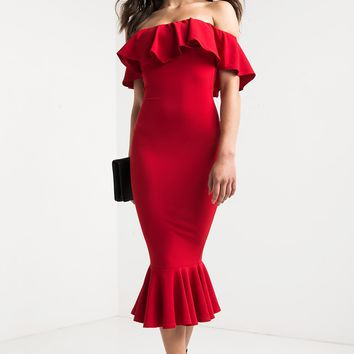 AKIRA Ruffle Mermaid Off Shoulder Midi Dress in Red