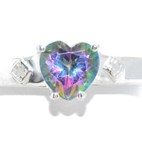 1 Carat Genuine Mystic Topaz Heart Diamond Ring .925 Sterling Silver Rhodium Finish White Gold Quality