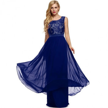 Women Lady Sleeveless Lace Chiffon Patchwork Party Evening Cocktail Full Gown Floor-length Dress