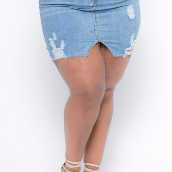 Plus Size Destroyed Dollhouse Didra Denim Skirt- Light Wash