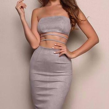 India Suede Bodycon Dress