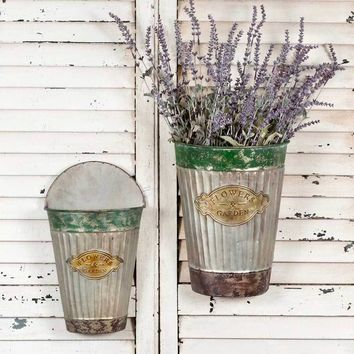 Set of Two Flowers and Garden Tapered Wall Pails
