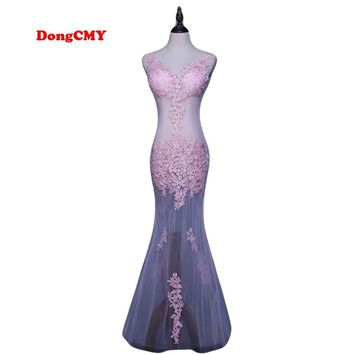 DongCMY CG0892 New 2017 formal long party robe de soiree lace plus size kaftan vestido longo V-Neck evening dress