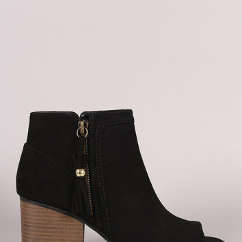 Qupid Suede Tassel Zip Up Block Heeled Ankle Boots