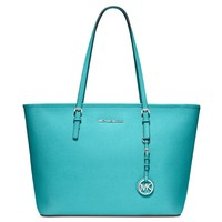 Michael Kors Jet Set Travel Top Zip Tote in AQUAMARINE silver hardware