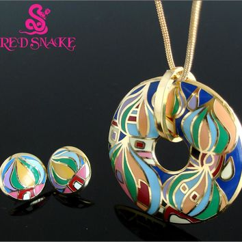 RED SNAKE New Unique Great Value Brand Rose Gold-color Religious Byzantine Style Red Square Element Design Enamel Jewelry Set