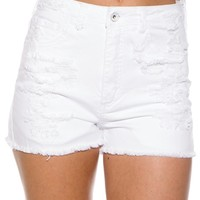 Bright and Beautiful High Waist Shredded Jean Shorts - White