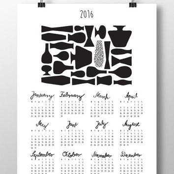 "Printable Calendar 2016, DIY,Planner, Wall/Desk Calendar,Agenda,Digital,JPG, Contemporary Design Calendar with Calligraphy:""Vases"""